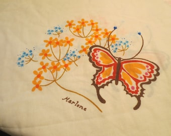 Vtg PAIR Yellow Standard Pillowcase / Butterflies and Flowers- Marlene Designs 1975 - Tastemaker/J.P. Stevens