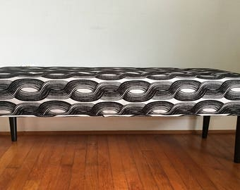 Mid Century Modern Inspired, Bench, Geometric Pattern