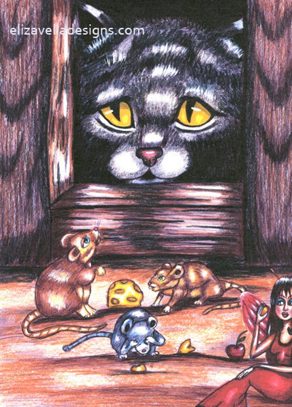 Cat spying on Mice original art print pets animal colored pencil pen drawings fairytale art Elizavella Bowers