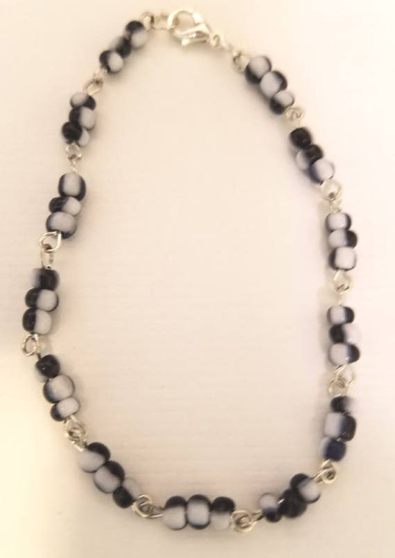 black and white glass seed beaded chain bracelet glass bead bracelet seed beads handmade jewelry