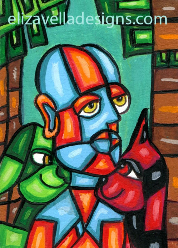Old Man pets cat dog abstract ORIGINAL ACEO PAINTING atc miniature modern contemporary cubist artwork Elizavella