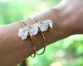 Clear Quartz Axis Cuff // crystal, spotted, stone, point, wand, wire cuff, brass, silver