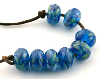 Blue Luau Handmade Glass Lampwork Beads (8 count) by Pink Beach Studios - SRA (1560)