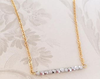 Silver beads gold chain necklace