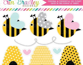 50% OFF SALE Bumble Bees Clipart Commercial Use Clip Art Graphics Instant Download