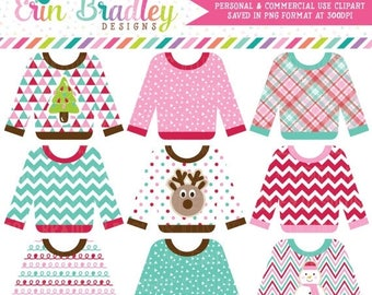 80% OFF SALE Sweater Weather Clipart, Ugly Sweater Party Clip Art Graphics, Commercial Use Holiday Clip Art, Clothing Clipart