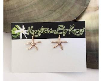 Rose Gold Starfish Stud Earrings