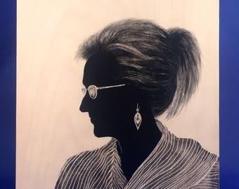 Hand painted / NASTY WOMEN SERIES / Meryl Streep / Silhouette Portrait / Custom Silhouette Painting / Adult Portraits