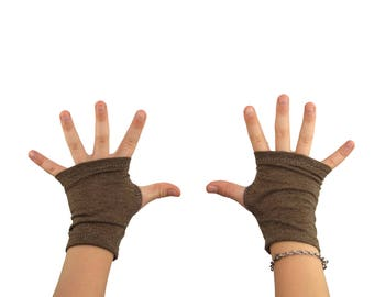 Toddler Arm Warmers in Hazelnut Brown - Organic Cotton Recycled Polyester - Fingerless Gloves