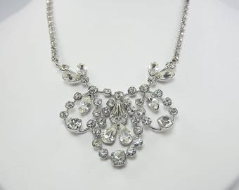 Clear Rhinestone Bridal Necklace, Marquise Round Rhinestone, Mother of the Bride Jewelry, Statement Necklace, 1950's Jewelry