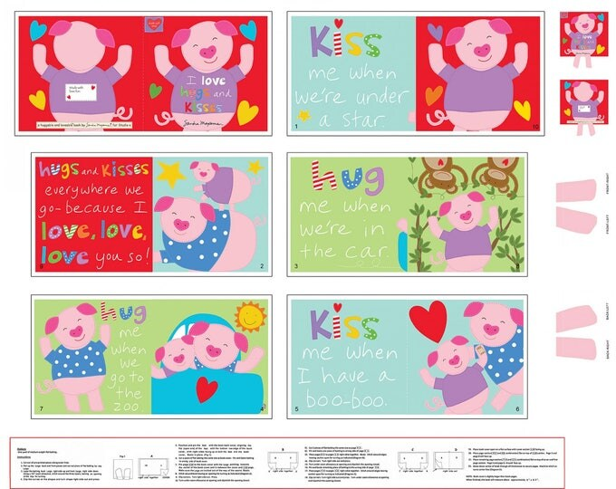 HUGGABLE AND LOVEABLE Hugs and Kisses Cotton Cloth Book by Sandra Magsamen 36 x 44 inches