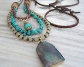Boho Multi Strand Necklace, Rustic Beaded Triple Strand Necklace, Nomadic Talisman, Adjustable, Layered Necklace, Earthy Turquoise