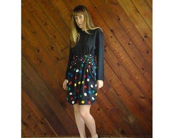 20% off SUMMER SALE. . . Polka Dot Print Mini Cocktail Dress - Vintage 90s - S/M