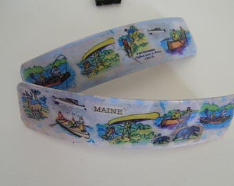 """Vacationland 4.5""""  French Barrette - 1940's  -Katahdin-place name Maine -"""