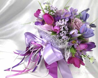 Radiant Orchid Purple, Violet, Lavender, and White Medium Bridal, Bridesmaid or Maid of Honor Bouquet Ready to Ship