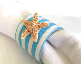 Sugar Starfish Napkin Ring with Blue Stripe Ribbon - Beach Wedding - seashore - shells