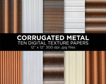"Corrugated metal texture printable sheets | 12"" x 12"" 300 dpi jpg 