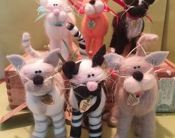 Felted Wool Whimsical Cat - NEW for 2017