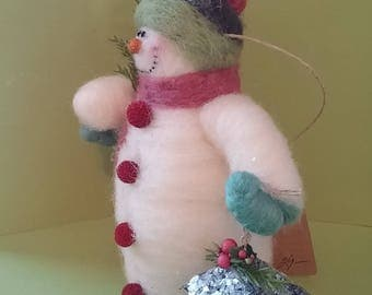 Light the Way Felted Wool Snowman - NEW for 2017