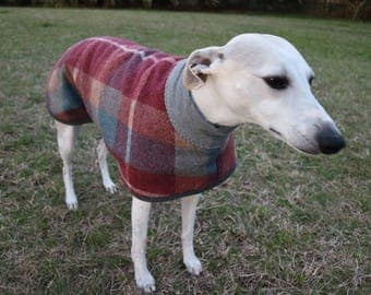checks in maroon and blue...winter coat for a large whippet in vintage wool blanket and polar fleece