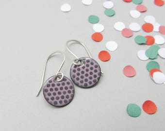 Small Pink Earrings with Gray Polka Dots - Small Pink Dangle Earrings - Lightweight Dangle Earrings - Gift for Sister