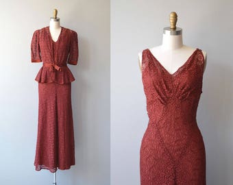 Clermont Club dress and jacket   vintage 1930s dress   lace 30s dress and jacket