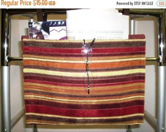 ON SALE Walker Bag Tote Velour Stripes Rust Brick Red Brown