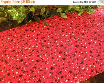 ON SALE Patriotic Table Runner Stars on Red Padded