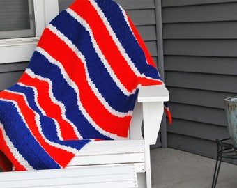 Vintage Red White & Blue Afghan / Throw / Cover Big Bang Style