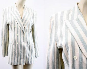 Vintage Linen Blend Oversize Fit Cache Brand Stripe Double Breasted Woman's Retro Blazer