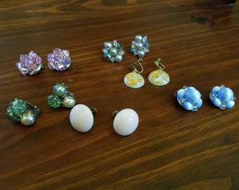 Six Pairs of Clip-On Earrings - Vintage Lot