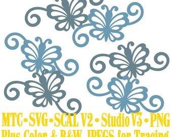 Butterfly 1 Flourish Set #01 Spring Cut Files MTC SVG SCAL and more Digital File Formats