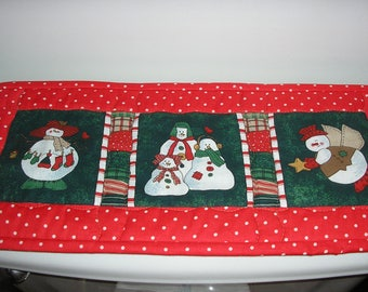 Quilted Small Table Runner /Toilet Topper, Keyboard Cover, Candle Mat -Reversible Snowmen and Holly , 8 x 18 inches