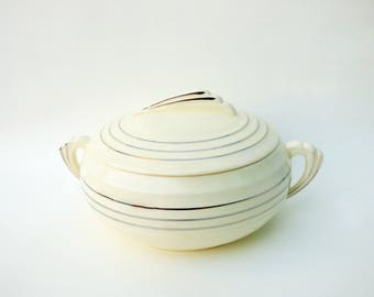 1936 Art Deco Knowles Yorktown Covered Casserole: White Ceramic with Silvery Streamline Rings, Matches Salem Zephyr Platinum Pattern