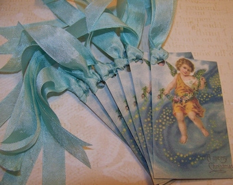 Christmas Tags Religious Christmas Tags Angel Tags Vintage Style Set of 6 or 9