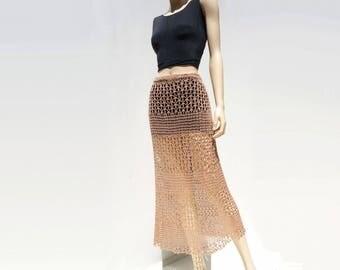 Boho Maxi Skirt Crochet Lace Skirt 70s Crochet Skirt Vintage Boho Skirt Beige Midi Skirt Handmade Skirt 1970s Festival Skirt s to m