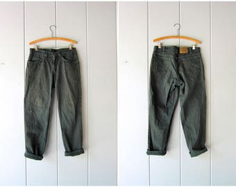 80s Dark Green LEVIS Jeans Orange Label Levis Jeans 1980s Hipster Grunge Street Wear Punk Denim Boyfriend Levis Mens Jeans Size 33 X 28