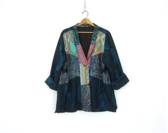 Peacock Feather Print Blazer Oversized Rayon Blue Patchwork Pattern Slouchy Cardigan Coat 1990s Slouchy Jacket Vintage Womens Size XL