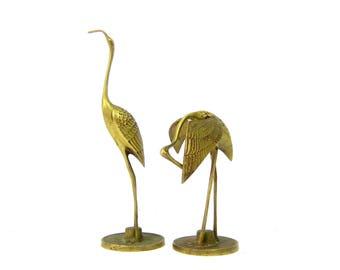 Gold Pair Cranes Brass Heron Bird figurines Animals Desk Set Sleek modern Home decor mid century brass Retro Ranch Shelf Decor Egret Statues