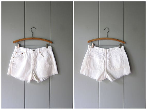 90s White Shorts High Waist Cut Of Shorts Vintage Corduroy Shorts Boho Hipster Preppy White Minimal Cotton Shorts Womens Medium