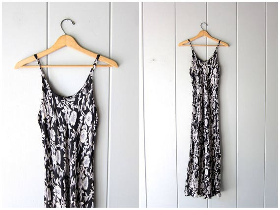 Black Floral Slip Dress 90s Long Rayon Dress Boho Summer Spaghetti Strap Sundress Thin Gauze Maxi Dress Flower Print Dress Womens Medium