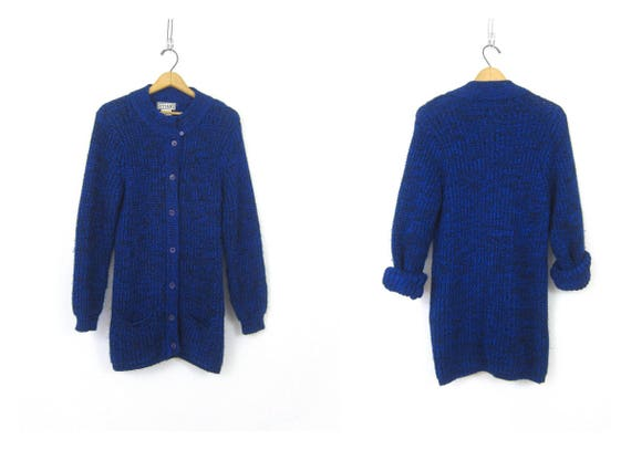 Long Blue Cardigan Sweater 1980s Marled Cocoon Sweater POCKETS Blue and Black Duster Vintage Sweater Womens Size Small