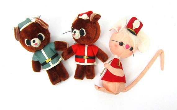 Vintage felt Christmas Ornaments Marching Hat Mouse and Two Santa Clause Elf Bears Retro Christmas doll ornaments Mid Century
