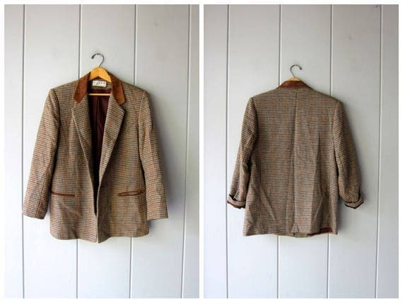 Vintage Brown Wool Blazer 90s Herringbone Jacket Leather Suede Trim Preppy Fall Coat Modern Equestrian Prep Jacket Womens Medium Large
