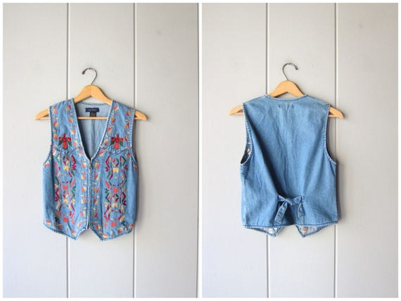 Vintage 80s Jean Vest Colorful Embroidered Denim Vest Tribal Bird Southwestern Tribal Zip Up Sleeveless Shirt Urban Hipster Womens XS Small