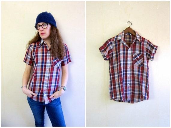 Vintage Levis Shirt Plaid Button Up Tee Shirt 80s Tomboy Shirt Red Blue 70s Boyfriend Shirt 80s Short Sleeve Top Hipster Shirt Womens Small