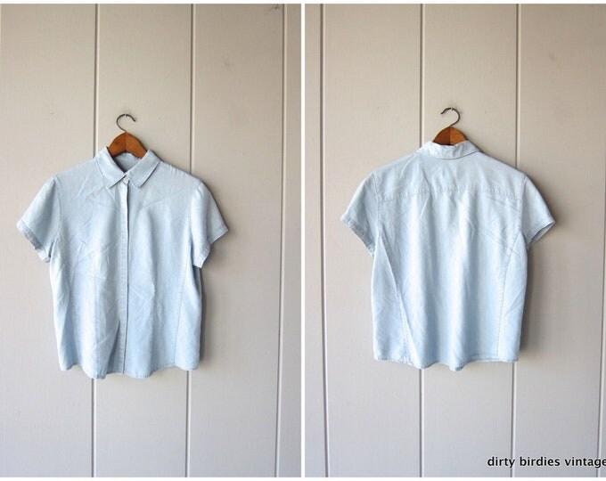 Light Blue Chambray Shirt Short Sleeve Button Up Tee Washed Out Faded Denim Rayon Shirt Minimal Boho Bleached Crop Top Womens 10 Medium