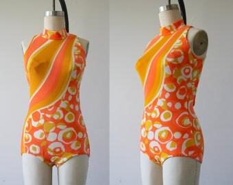 vintage 1960s swimsuit / 60s Jantzen bathing suit / 60s orange psychedelic swim suit / 60s swimwear / cutout back swimsuit / SZ medium large