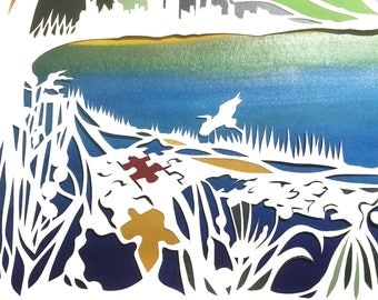 Two City Puzzle of Life Papercut Ketubah - hand lettering - Chicago and Detroit - Herons and Birch Trees - Hebrew and English