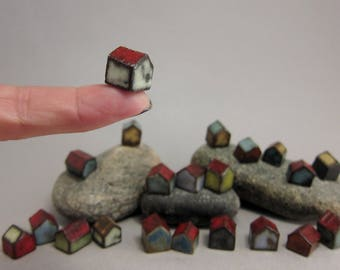 Lucky 21...Minimalist Micro Houses in Stoneware